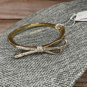 """Kate Spade NWT """"All Tied Up"""" Pavé Gold Bow Bangle"""
